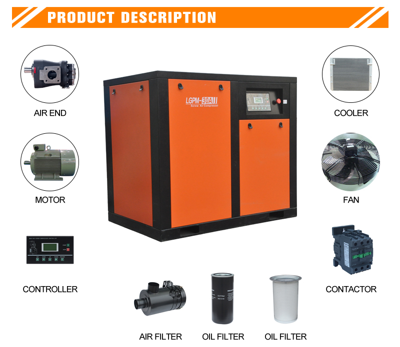 55kw Fixed speed screw air compressor(图1)