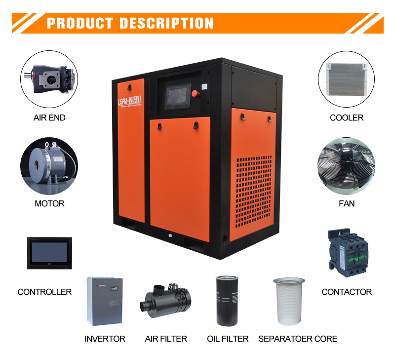 7.5kw PM VSD screw air compressor(图1)